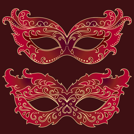 carnival costume: Set of festive masks. Beautiful mask to celebrate Halloween, New Year, Carnival or party. Elements female carnival costume.