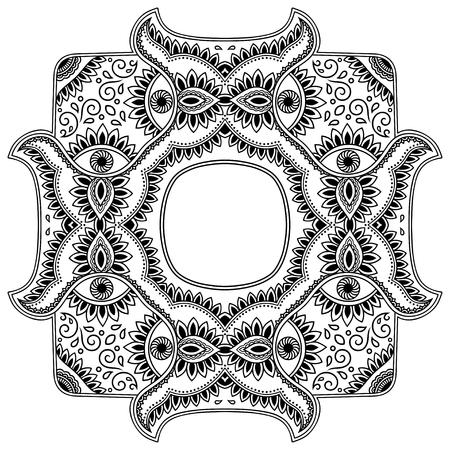 Vector henna tatoo mandala. Mehndi style.Decorative pattern in oriental style. Coloring book page. Illustration