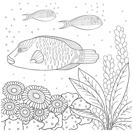 Marine Pattern For Coloring Book Sea Fish Seaweed Bubbles Children And Adults Vector