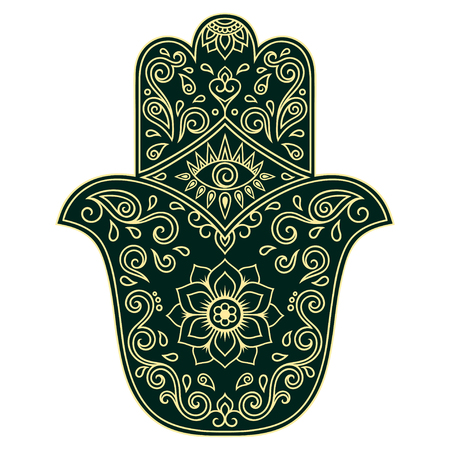 an amulet: Color vector hamsa hand drawn symbol. Illustration