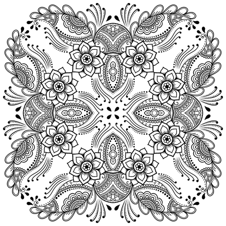 Vector henna tatoo mandala. Mehndi style.Decorative pattern in oriental style. Coloring book page. Vectores