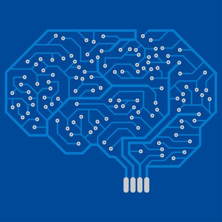 Circuit imprimé avec une forme de cerveau humain. Tableau électronique abstrait. Vecteurs