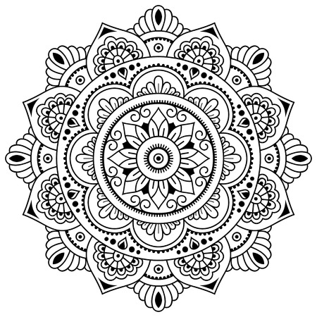Vector henna tatoo mandala. Mehndi style.Decorative pattern in oriental style. Coloring book page. Ilustrace