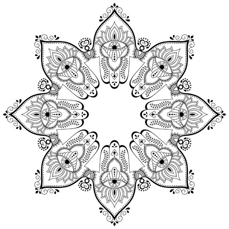 Vector henna tatoo mandala. Mehndi style.Decorative pattern in oriental style. Coloring book page. Illustration