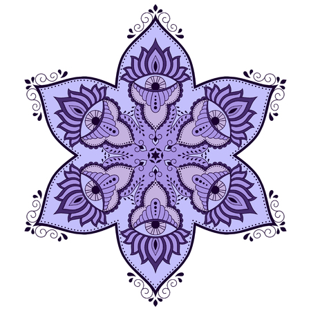 Vector color mandala. Mehndi style. Decorative pattern in oriental style.