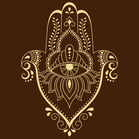 kabbalah: Vector hamsa hand drawn symbol. Decorative pattern in oriental style for the interior decoration and drawings with henna. The ancient symbol of the Hand of Fatima.