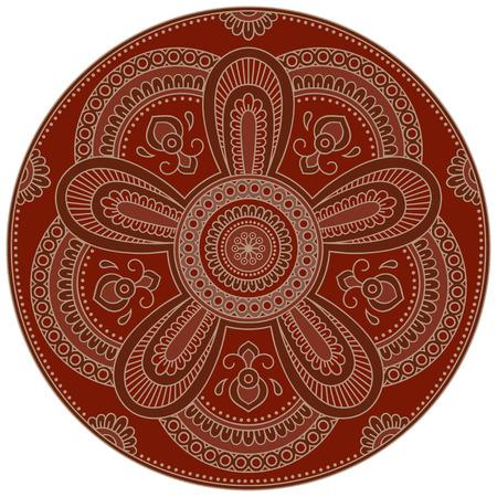 Vector color mandala. Mehndi style.