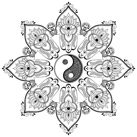 tao: Vector henna tatoo mandala.Yin-yang decorative symbol. Mehndi style. Mehndi style. Decorative pattern in oriental style. Coloring book page. Illustration