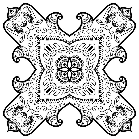 groovy: Vector henna tatoo mandala. Mehndi style.Decorative pattern in oriental style. Coloring book page. Illustration