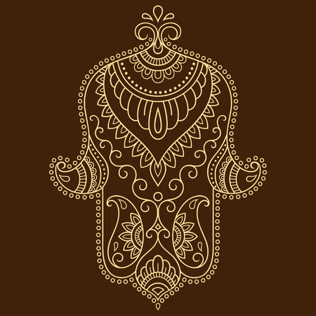 Vector hamsa hand drawn symbol. Decorative pattern in oriental style for the interior decoration and drawings with henna. The ancient symbol of the Hand of Fatima.