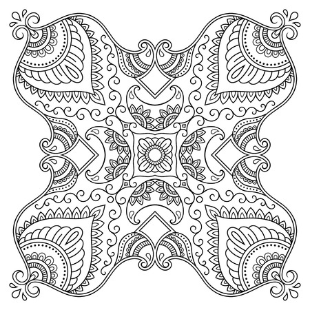 Vector henna tatoo mandala. Mehndi style.Decorative pattern in oriental style. Coloring book page. 矢量图像