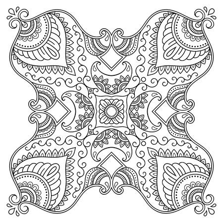 Vector henna tatoo mandala. Mehndi style.Decorative pattern in oriental style. Coloring book page. Illusztráció
