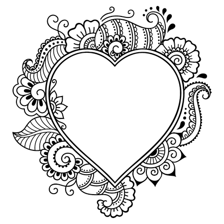 Decorative doodle heart in mhendi style. Floral frame in the shape of a heart. Element for design for Valentines Day.