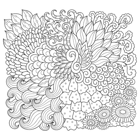 Doodle pattern in black and white. Floral pattern for coloring book. Abstract pattern with a maritime theme.