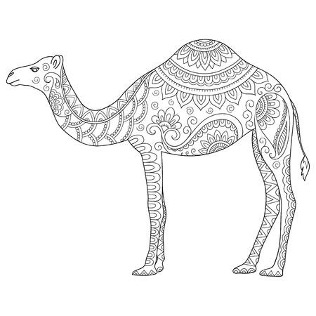 様式化されたラクダを落書き。書籍、ポスター、印刷、またはタトゥーを着色のためのスケッチします。手描きの背景図には、動物がいたずら書き