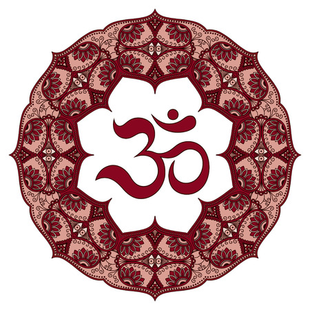Colored mandala with the OHM symbol. Decorative pattern in oriental style with the ancient Hindu mantra OM. Illustration