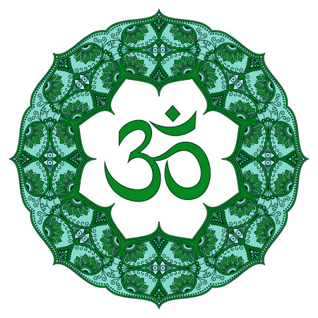 mantra: Colored mandala with the OHM symbol. Decorative pattern in oriental style with the ancient Hindu mantra OM. Illustration