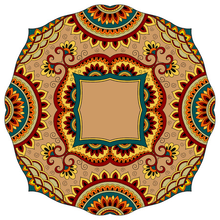 groovy: Colored decoration in mandala form. Mehndi style. Decorative pattern in oriental style. Eastern ethnic pattern.
