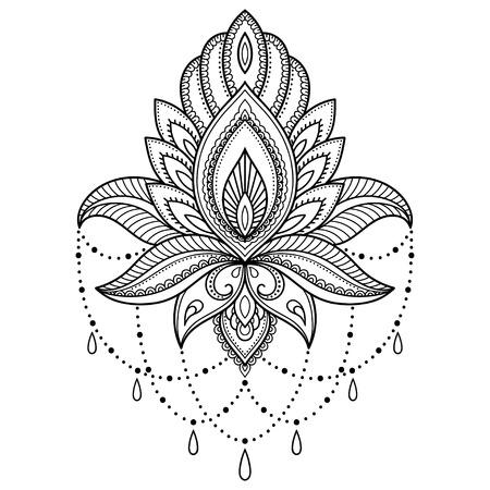 Henna tattoo flower template in Indiase stijl. Ethnic bloemen paisley - Lotus. Mehndi stijl.