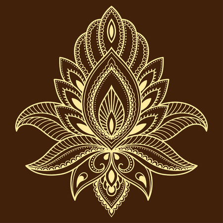 groovy: Henna tattoo flower template in Indian style. Ethnic floral paisley - Lotus. Mehndi style.