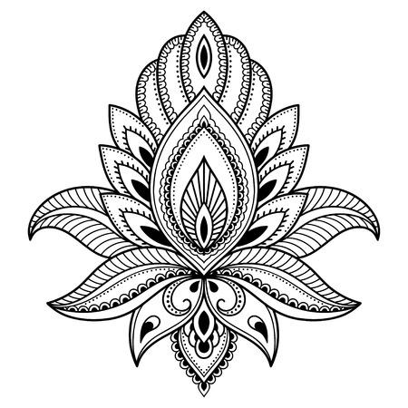 インド風のヘナタトゥー花テンプレート。エスニック花柄ペイズリー - ロータス。一時的な刺青スタイル。