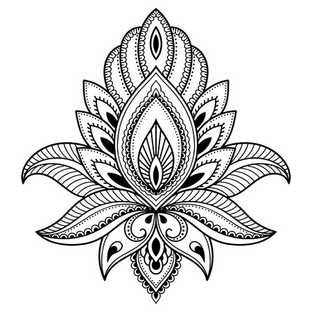 Henna tattoo flower template in Indian style. Ethnic floral paisley - Lotus. Mehndi style. Stok Fotoğraf - 72657957