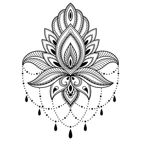 Henna Tattoo Blume Vorlage im indischen Stil. Ethnische floral Paisley - Lotus. Mehndi Stil. Standard-Bild - 72657963