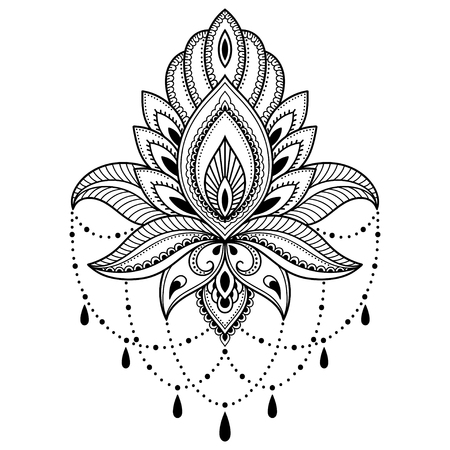 Henna tattoo flower template in Indian style. Ethnic floral paisley - Lotus. Mehndi style. Zdjęcie Seryjne - 72657963