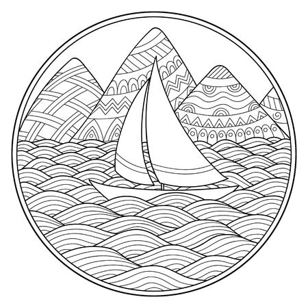 Doodle Patrón En Blanco Y Negro Patrón De Paisaje Para Colorear Montañas Ríos Montañas Mar Barco Yate Orilla Vela Onda Océano Libro Para
