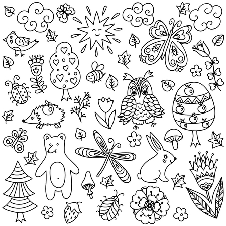 bear berry: Vector elements in doodle childish style, handdrawn animals and insects, trees and plants. Design element in Doodles style. Pattern for coloring book. Illustration