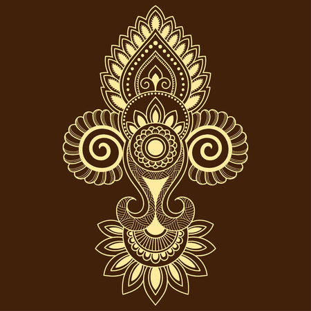 india culture: Henna tattoo flower template in Indian style. Ethnic floral paisley - Lotus. Mehndi style. Ornamental pattern in the oriental style.