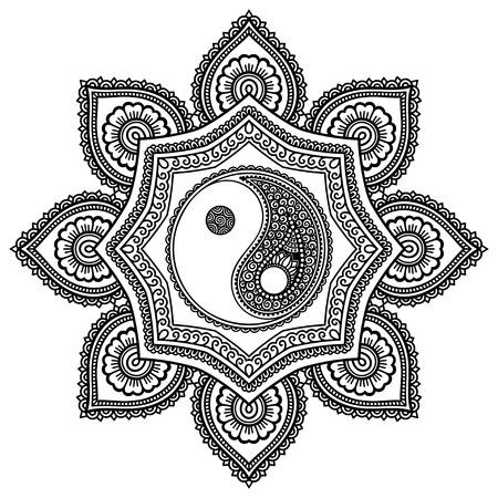 Vector Mandala de tatouage au henné. Yin-Yang symbole décoratif. Style Mehndi. Motif décoratif dans le style oriental. Page de livre à colorier.