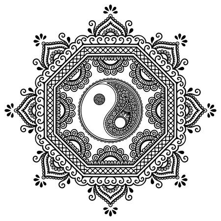 ヘナ タトゥー マンダラをベクトルします。陰陽の装飾的な記号です。一時的な刺青スタイル。オリエンタル スタイルで装飾的なパターンは。本ペ
