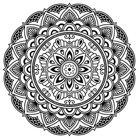 Henna tatoo mandala. Mehndi style. Decorative pattern in oriental style. Coloring book page.