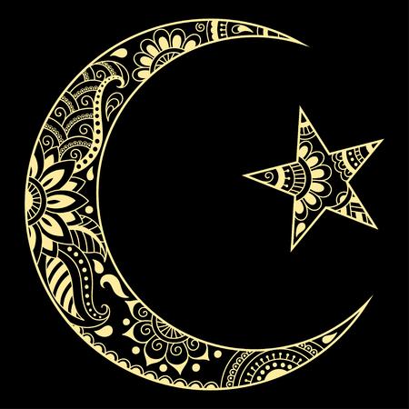 Religioso símbolo islámico de la Estrella y la Media Luna Roja. Signo decorativo para hacer y tatuajes. Símbolo musulmán oriental.
