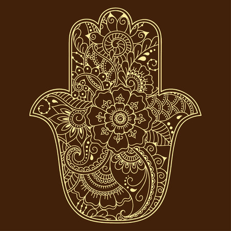 Vector Hamsa hand drawn symbol. Decorative pattern in oriental style for the interior decoration and drawings with henna. The ancient symbol of the Hand of Fatima. Illustration