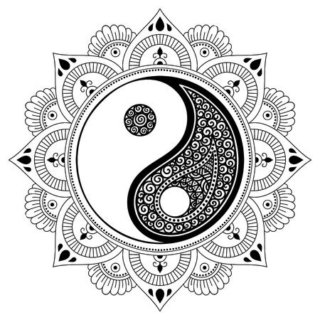 Vector henna tatoo mandala. Yin-yang decorative symbol. Mehndi style. Decorative pattern in oriental style. Coloring book page. Illustration