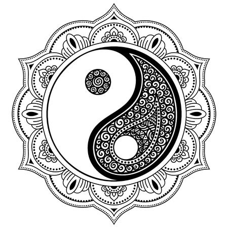 yinyang: Vector henna tatoo mandala. Yin-yang decorative symbol. Mehndi style. Decorative pattern in oriental style. Coloring book page. Illustration