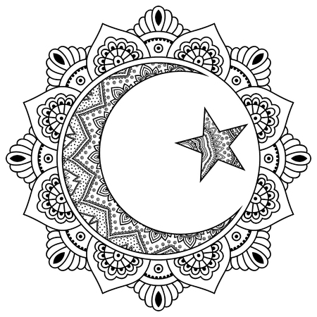 A circular pattern in the form of a mandala.Religious Islamic symbol of the Star and the Crescent. Decorative sign for making and tattoos. Eastern Muslim symbol. Mehndi style. Decorative pattern in oriental style.