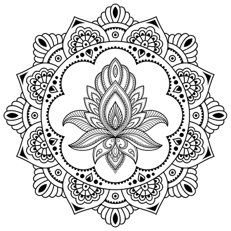 A circular pattern in the form of a mandala. Henna tattoo flower template in Indian style. Ethnic floral paisley - Lotus. Mehndi style. Decorative pattern in oriental style.