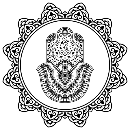 india culture: Hamsa hand drawn symbol in mandala. Mehndi style. Decorative pattern in oriental style. For henna tattoos, and decorative design documents and premises.