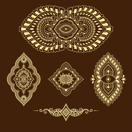 Henna tattoo flower template. Mehndi style. Set of ornamental patterns in the oriental style. 矢量图像