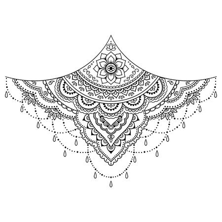 Henna tattoo flower template. Mehndi style. Set of ornamental patterns in the oriental style. Illusztráció