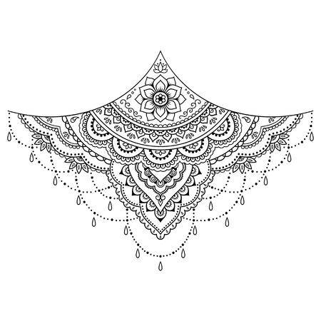 Henna tattoo flower template. Mehndi style. Set of ornamental patterns in the oriental style. Vectores