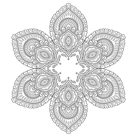 groovy: Circular pattern in the form of a mandala. Henna tatoo mandala. Mehndi style. Decorative pattern in oriental style. Coloring book page. Illustration