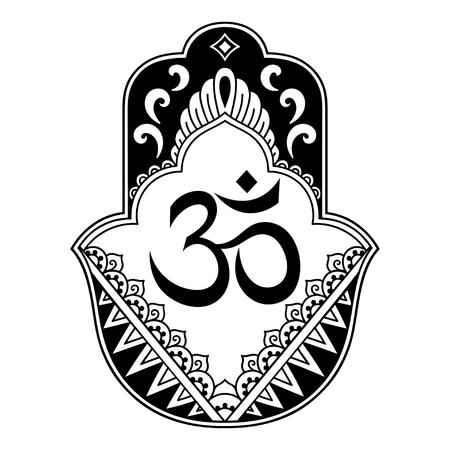 talisman: Vector hamsa dibujado a mano símbolo. Símbolo decorativo de OM Patrón decorativo en estilo oriental para la decoración de interiores y dibujos con henna. El antiguo símbolo de la Vectores