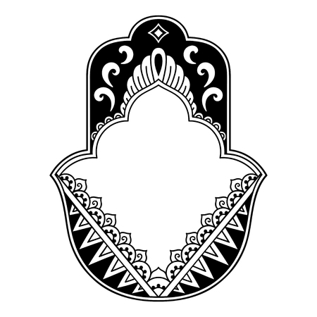 Vector hamsa hand drawn symbol. Decorative pattern in oriental style for the interior decoration and drawings with henna. The ancient symbol of the Illustration