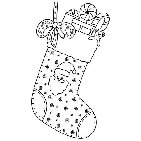 Decorative holiday element for decoration for New Year and Christmas. Holiday design - toys, gifts, candy, snowflakes, bow, sock and Santa Claus. Coloring book page.