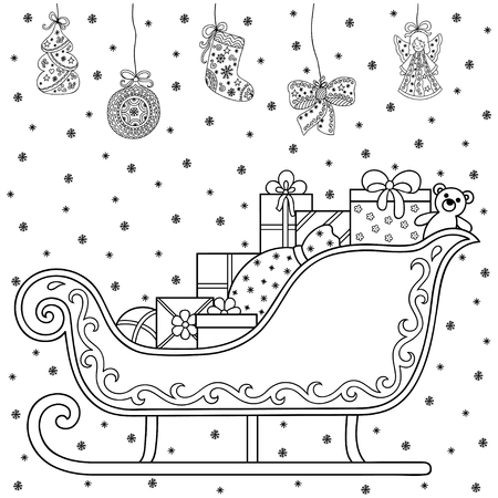 santa sleigh: Decorative holiday element for decoration for New Year and Christmas. Holiday design - toys, gifts, sleigh and Santa Claus. Coloring book page. Illustration