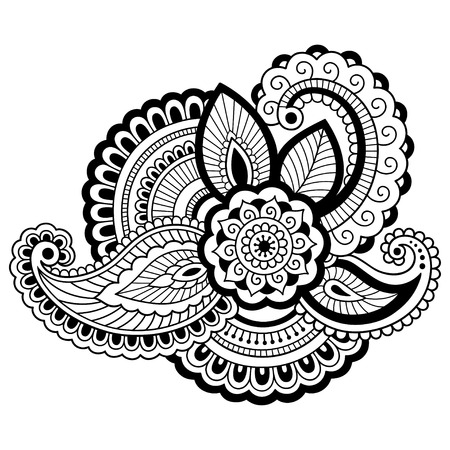 Henna tattoo flower template. Mehndi style. Set of ornamental patterns in the oriental style. Illustration